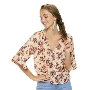 Blush Pink Floral Button Front Elbow Sleeve Blouse